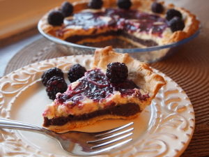 Blackberry Brownie Cheesecake Pie