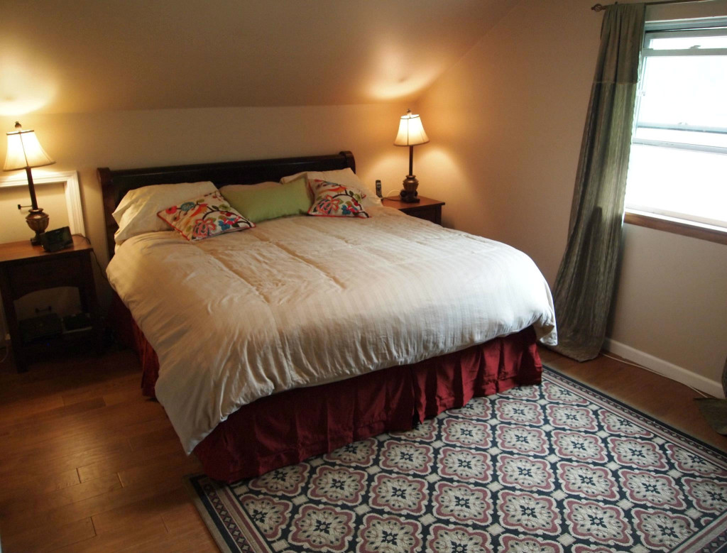 Donna Michaels -masterbedroom- floors, walls, extra storage created behind end table